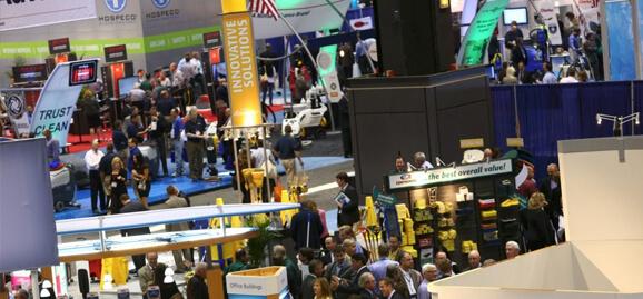 Overhead view of tradeshow floor